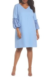 Tahari Plus Size Women's Lace Bell Sleeve Shift Dress Periwinkle