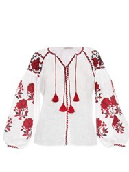Vita Kin Rose Embroidered Linen Shirt Red White