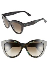 Women's Valentino 56Mm Cat Eye Sunglasses Camo Butterfly Army Green