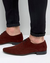 Asos Pointed Derby Shoes In Burgundy Suede Burgundy Red