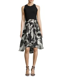 Carmen Marc Valvo Sleeveless Solid Ponte And Floral Silk Cocktail Dress Ivory Black Ivory Black