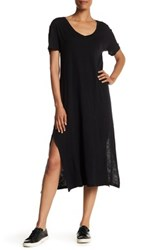 Allen Allen Short Sleeve V Neck Shirt Dress Black