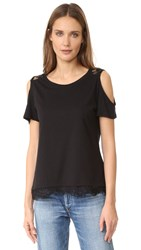 Generation Love Belle Lace Cold Shoulder Tee Black