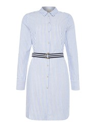 Vero Moda Long Sleeve Stripe Belted Short Dress Blue