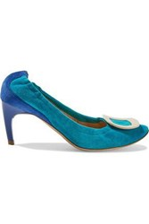 Roger Vivier Woman Buckle Embellished Two Tone Suede Pumps Turquoise