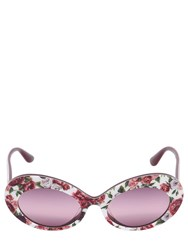 Dolce And Gabbana Floral Printed Sunglasses Red