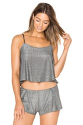Only Hearts Club Metallic Jersey Flare Cami Gray