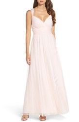 Wtoo Women's Deep V Neck Chiffon And Tulle Gown