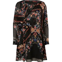 River Island Womens Black Floral Print Smock Wrap Dress