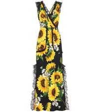 Dolce And Gabbana Sleeveless Floral Printed Dress Yellow