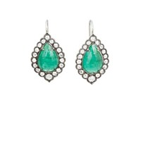 Cathy Waterman Emerald Lace Edged Earrings Green