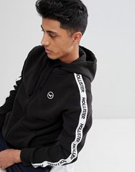 Hollister Athletic Icon Seagull And Logo Taping Fullzip Hoodie In Black