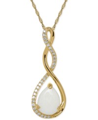 Macy's Birthstone And Diamond 1 10 Ct. T.W. Pendant Necklace In 14K White Or Yellow Gold Blue