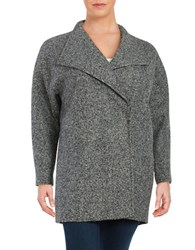 Jones New York Plus Marled Wool Blend Oversized Collar Pea Coat Granite