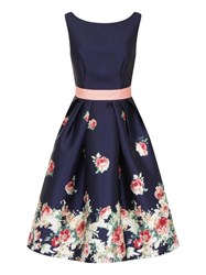 Chi Chi London Digital Floral Block Print Midi Dress Navy