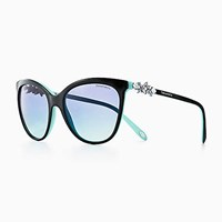 Tiffany And Co. Victoria Butterfly Sunglasses In Black Blue Acetate. Plastic