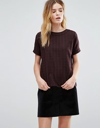 Native Youth Brushed Plaid Top Burgundy Black Multi
