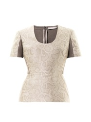 Richard Nicoll Snake Effect Jacquard Peplum Top