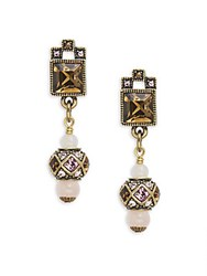 Heidi Daus Geometric Crystal And Rhinestone Drop Earrings Rose