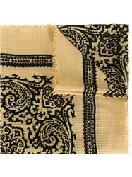 Yves Saint Laurent Vintage Patterned Scarf Nude And Neutrals