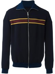 Alexander Mcqueen Striped Bomber Jacket Blue