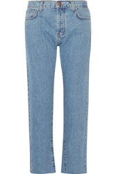 Current Elliott The Original Straight Cropped Mid Rise Jeans Light Denim
