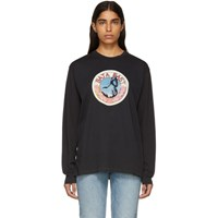 Baja East Black Stallion Medallion Long Sleeve T Shirt