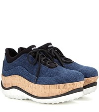 Miu Miu Denim Platform Sneakers Blue