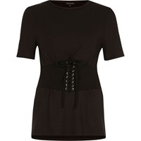 River Island Womens Black Corset Front Fitted T Shirt