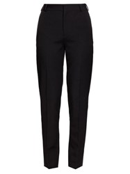Saint Laurent Satin Stripe Wool Straight Leg Trousers Black