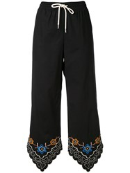 See By Chloe Floral Trim Drawstring Trousers Blue