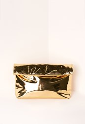 Missguided High Shine Roll Top Clutch Bag Gold Gold