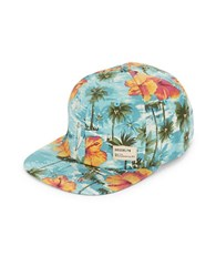 Dorfman Pacific Hawaiian Print Flat Bill Hat Aqua