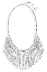 Women's Bp. Metal Fringe Statement Necklace Silver