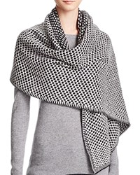 Bloomingdale's C By Cashmere Honeycomb Knit Scarf Black Ivory