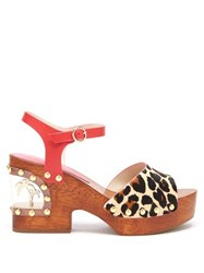 Sophia Webster Paradise Leopard Print Wood And Pvc Clogs Leopard