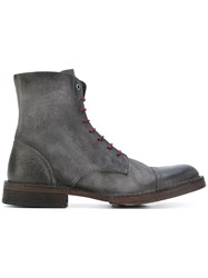 Diesel Contrast Lace Up Ankle Boots Men Leather Suede 43 Grey