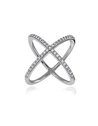 Lord And Taylor Sterling Silver Cubic Zirconia Saturn Ring