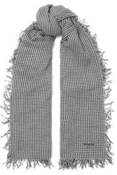 Chan Luu Gingham Cashmere And Silk Blend Scarf Black