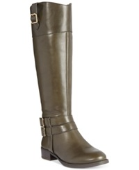 Inc International Concepts Fahnee Leather Wide Calf Riding Boots Women's Shoes Deep Olive Wc