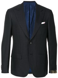 Kiton Classic Fitted Blazer Men Silk Cupro Cashmere Mohair 50 Blue