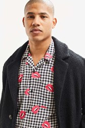 Urban Outfitters Uo Pop Gingham Short Sleeve Button Down Shirt Black White