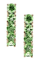 Yellow Gold Plated Sterling Silver 5 Stone Peridot Earrings Green