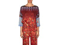 Warm Boxcutter Floral Cotton Silk Top Red