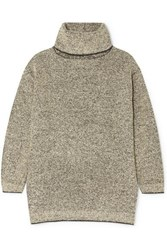 The Row Gene Cashmere And Silk Blend Turtleneck Sweater Beige