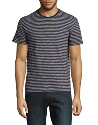 Black Brown Heathered Stripe Cotton Tee Anthracite