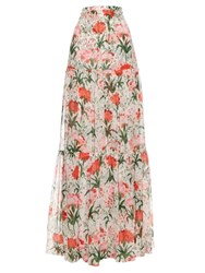 Erdem Sigrid Carnation Print Tiered Maxi Skirt Red White