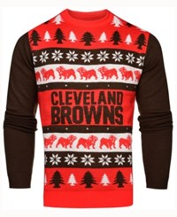 Forever Collectibles Men's Cleveland Browns Light Up Ugly Crew Neck Sweater Orange Brown White