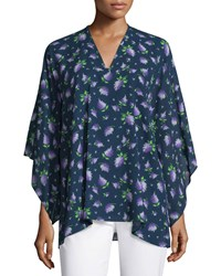 Michael Kors Collection V Neck Floral Print Tunic Indigo Lilac Indigo Purple Women's