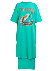 Christopher Kane Foreplay Cotton Jersey T Shirt Dress Green Multi